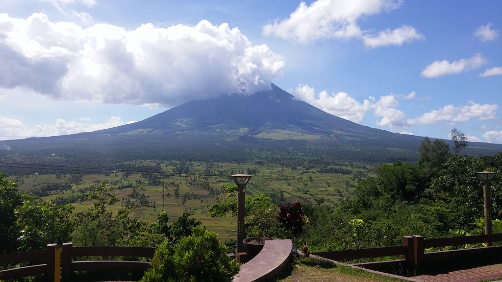 Mt. Mayon covered with clouds