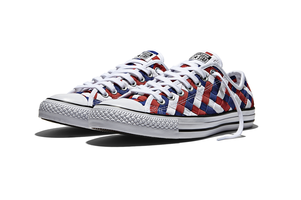 CHUCK TAYLOR ALL STAR WOVEN OX Color WHITE CLEMATIS BLUE RED