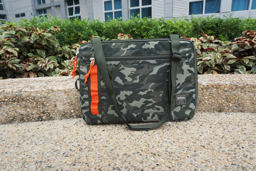 STM Arc 13-inch Laptop Sleeve Green Camo Removable Strap