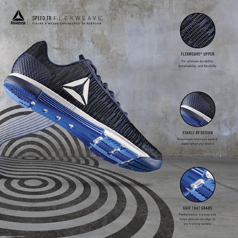This training shoe is made of Reebok s innovative Flexweave material – a revolutionary  new textile that was introduced this year to training and running ... a7809b373